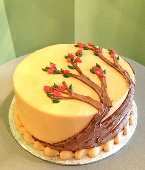 Autumn Tree Layer Cake - Orange Buttercream