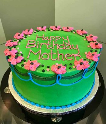 Flower Garland Layer Cake - Green & Pink