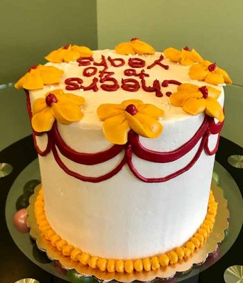 Flower Garland Layer Cake - White, Yellow & Red