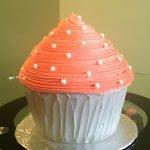 Giant Cupcake Cake - Coral & Grey