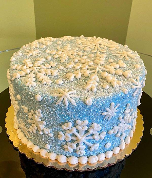 Snowflake Layer Cake - Ice Blue Sugar