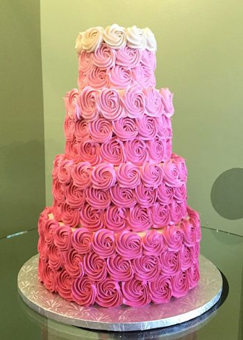 Rosette Wedding Cake - Pink Ombre