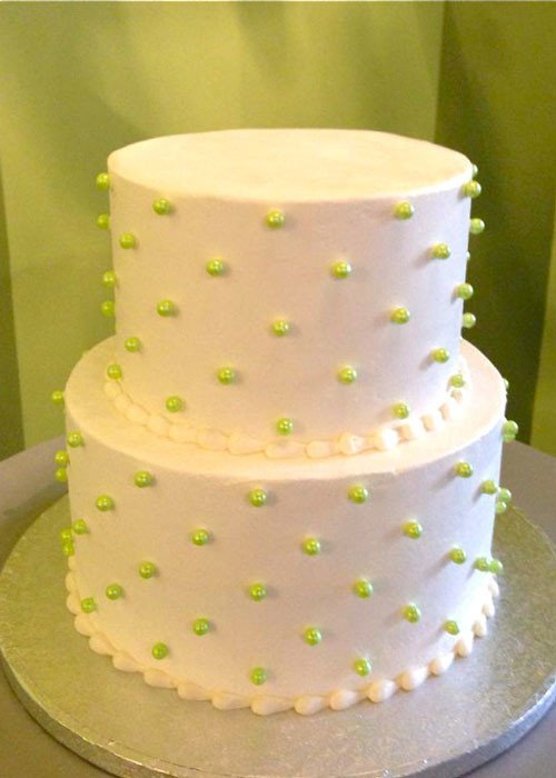 Sugar Pearl Button Tiered Cake - Green Pearls