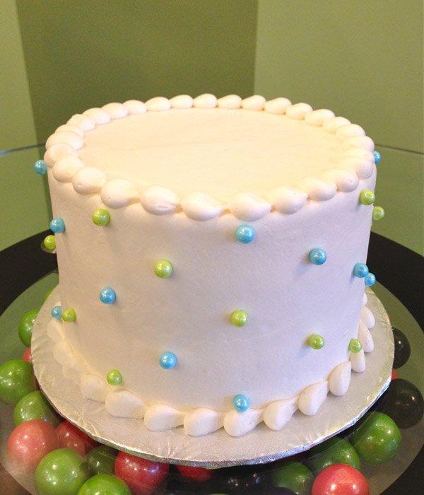 Sugar Pearl Button Layer Cake - Blue & Green