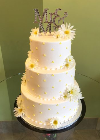 Swiss Dot Wedding Cake - Yellow
