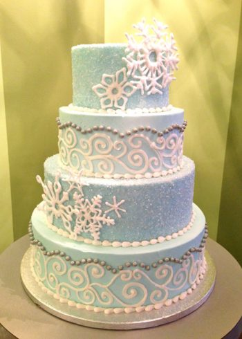 Winter Wedding Cake - Snowflakes