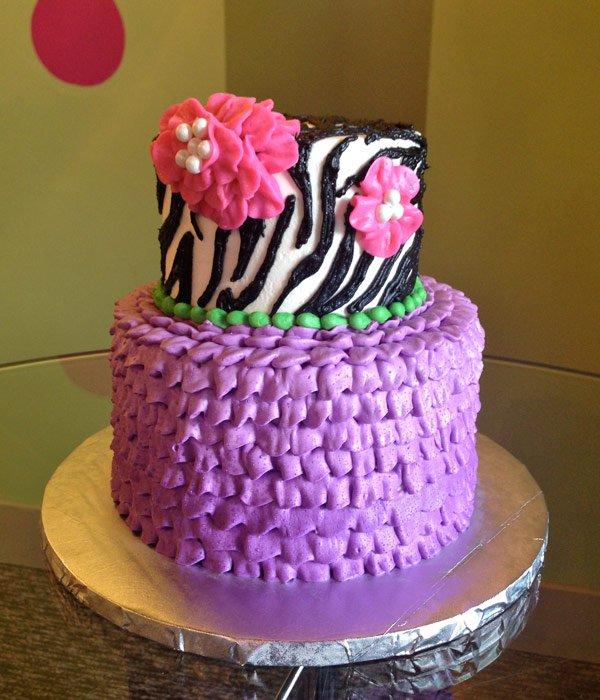 Zebra Ruffle Tiered Cake