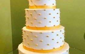 Sugar Pearl Button Wedding Cake