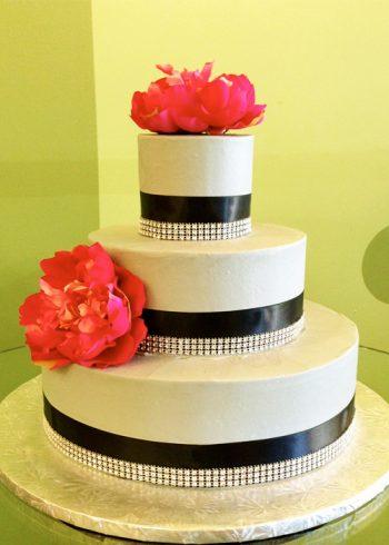 Country Ribbon Wedding Cake, Grey & Blue
