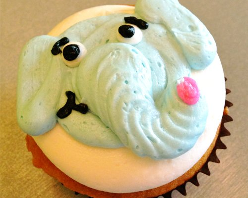 Elephant Cupcake - Blue