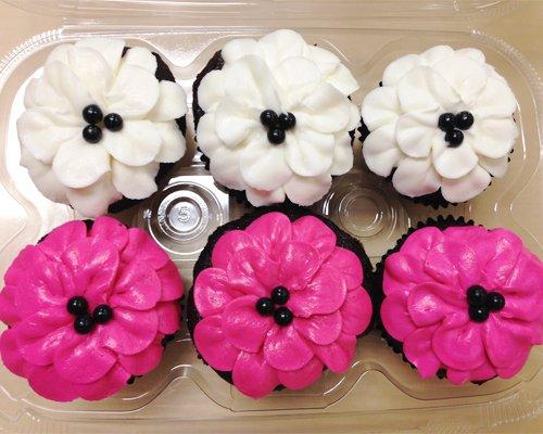 Flower Petal Cupcakes - White Pink