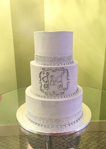 Crystal Ribbon Wedding Cake - Grey