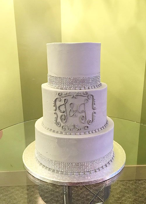 Crystal Ribbon Wedding Cake - Grey
