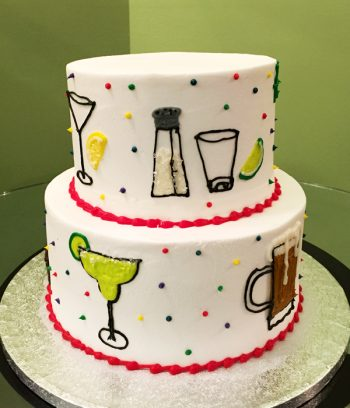 21st Birthday Tiered Cake - Side