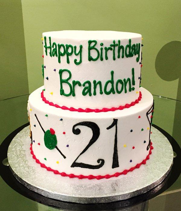 21st Birthday Tiered Cake