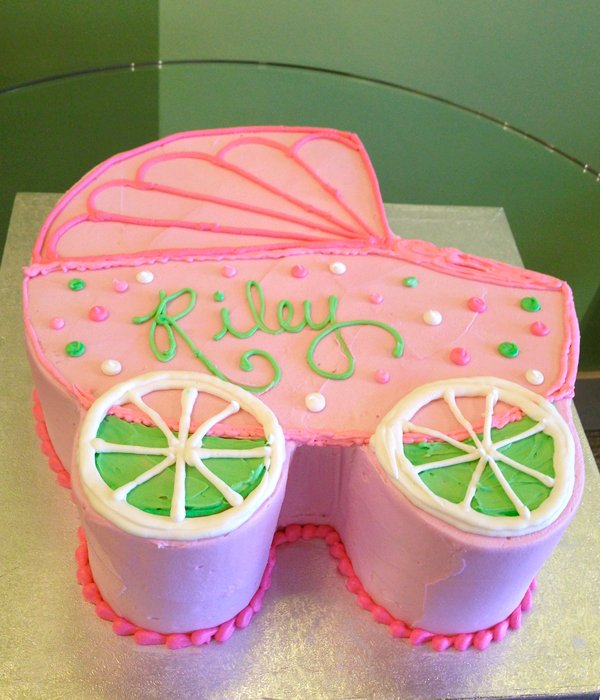 Baby Carriage Layer Cake - Green & Pink