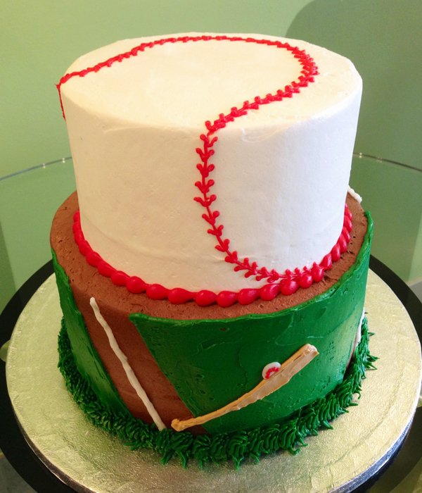 Brilliant Baseball Tiered Cake Classy Girl Cupcakes Personalised Birthday Cards Epsylily Jamesorg
