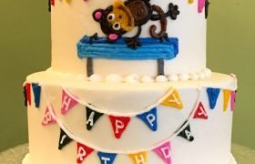 Birthday Banner Tiered Cake