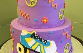 Peace Love & Rollerskates Tiered Cake