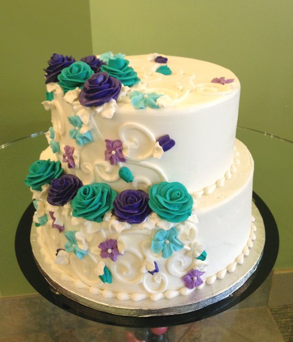 Charlotte Tiered Cake - Turquoise & Purple