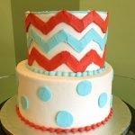 Chevron Tiered Cake - Red, Blue, & White