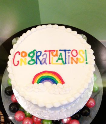 Congratulations Rainbow Layer Cake