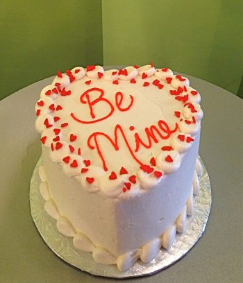 Conversation Heart Layer Cake - White & Red