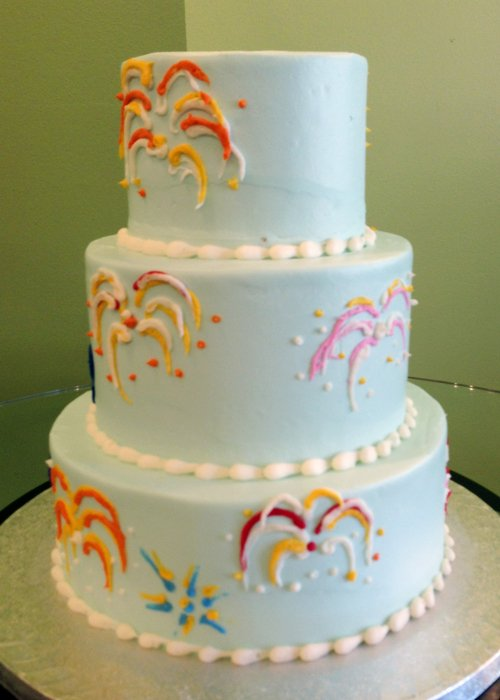 Fireworks Tiered Cake - Back
