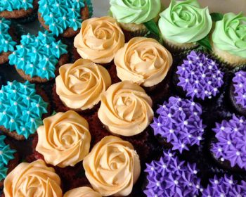 Rosette Cupcakes - Orange Mint Green