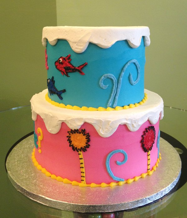 Gender Reveal Who's Inside Tiered Cake - Fish