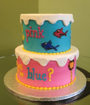 Gender Reveal Who's Inside Tiered Cake - Side