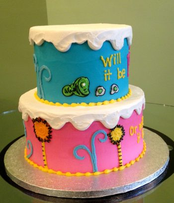 Gender Reveal Who's Inside Tiered Cake - Trees