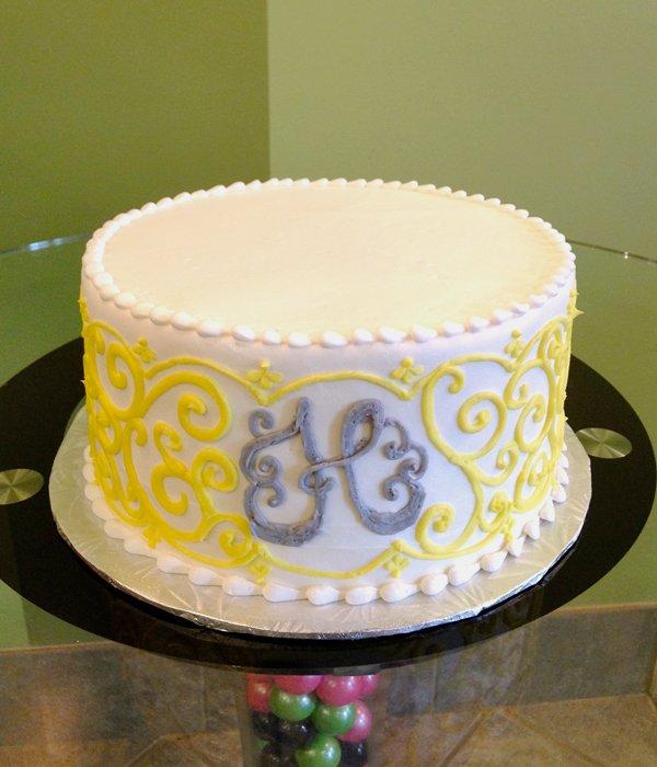 Grace Monogram Layer Cake - Yellow & Grey