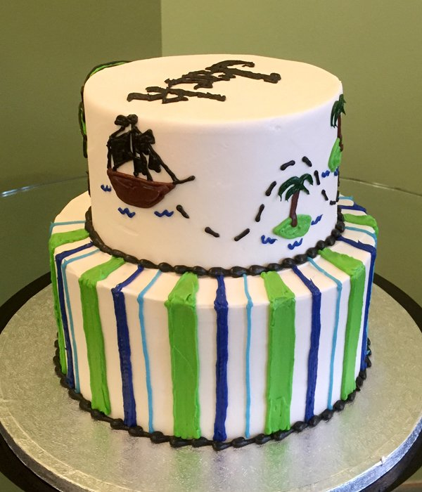 Pirate Tiered Cake - Pirate Ship