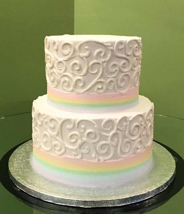 Rainbow Border Scroll Tiered Cake