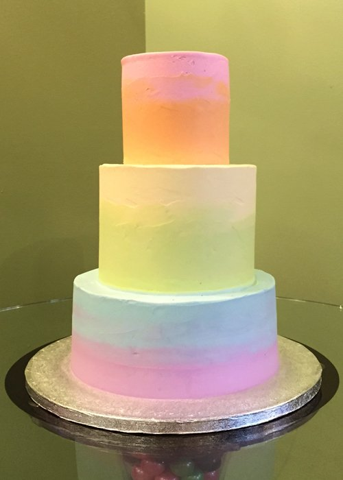 Rainbow Ombre Wedding Cake