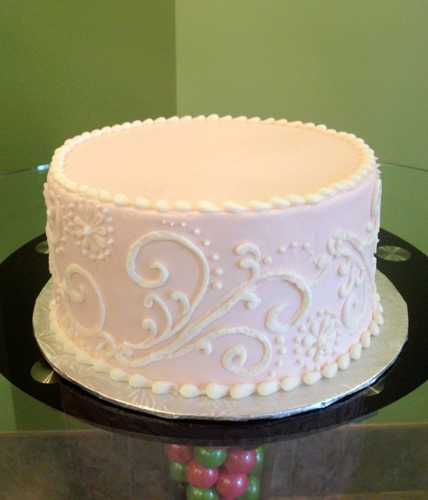 Scroll Dot Layer Cake - Pink