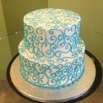 Scroll Tiered Cake - Aqua