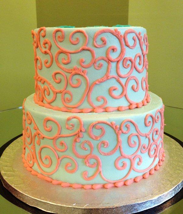 Scroll Tiered Cake - Aqua Coral