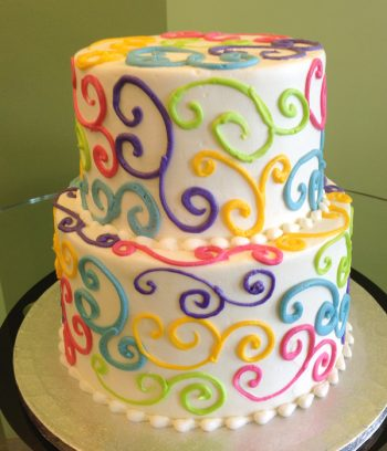 Scroll Tiered Cake - Rainbow