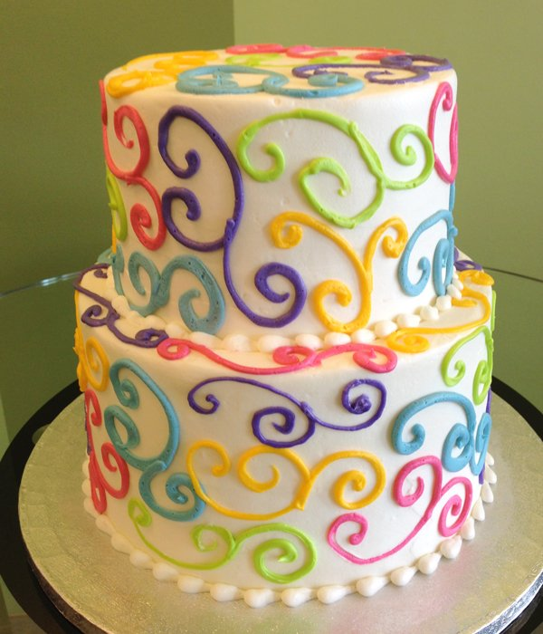 Scroll Tiered Cake - Rainbow