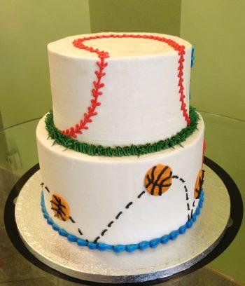 Sports Tiered Cake - Baseball & Basketball