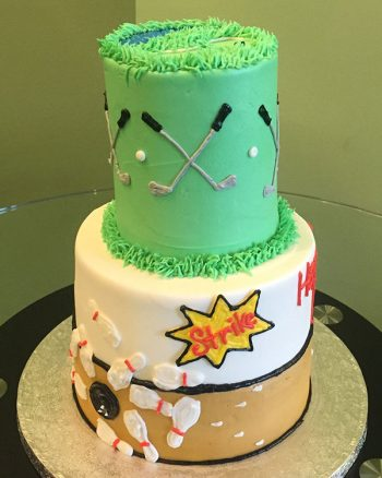 Sports Tiered Cake - Golf & Bowling