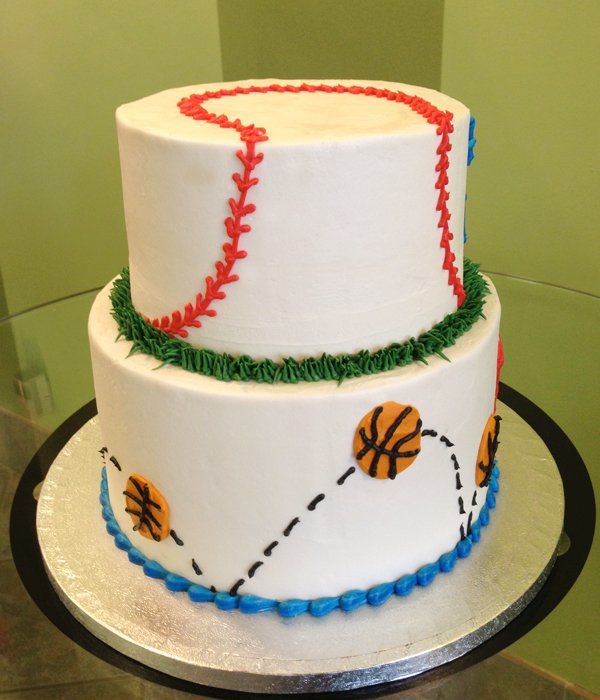 Sports Tiered Cake - Baseball & Basketball