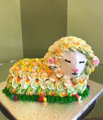 Lamb Shaped Cake - Bright Rainbow