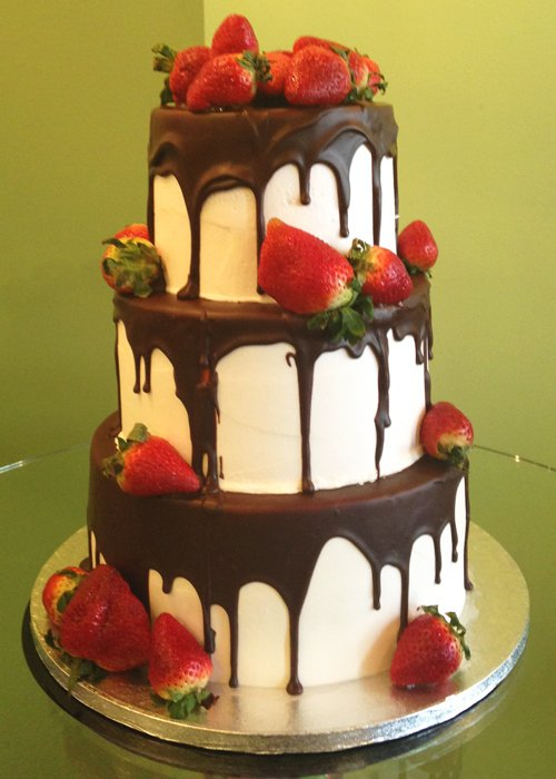 Chocolate Cake With Strawberry Cheesecake Filling