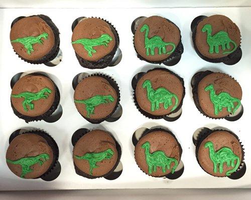 Dinosaur Decorated Cupcakes - Chocolate
