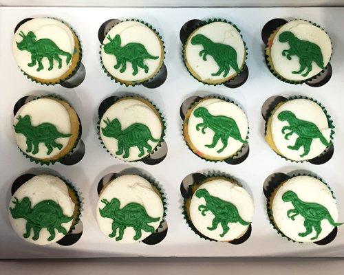 Dinosaur Decorated Cupcakes - Vanilla