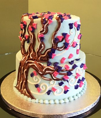Autumn Tree Tiered Cake - Purple & Pink
