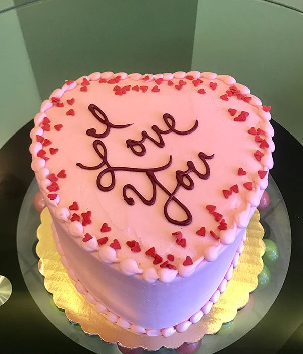 Conversation Heart Layer Cake - Pink & Red